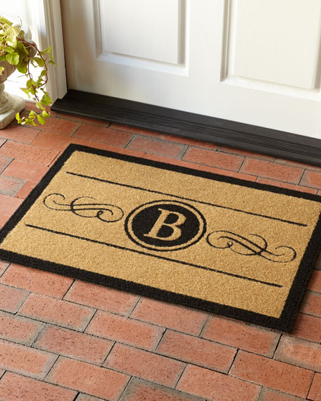 Natural Custom Scroll Monogram Mat, 3' x 5'