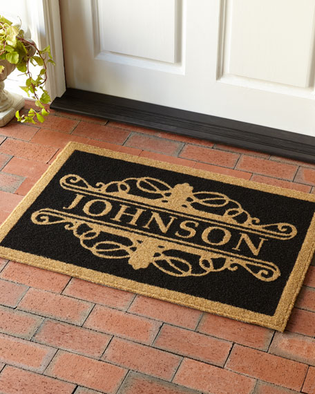 3 X 5 Natural Custom Baldwin Monogrammed Door Rug