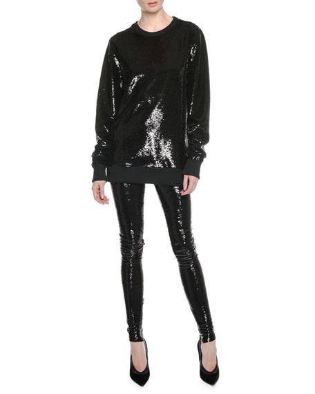 Crewneck Long-Sleeve Sequin Sweatshirt