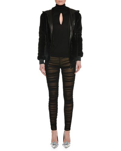 Ruched Sheer Leggings w/ Lining and Matching Items