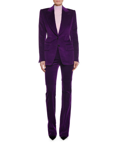 Two-Button Peak-Lapel Velvet Blazer and Matching Items