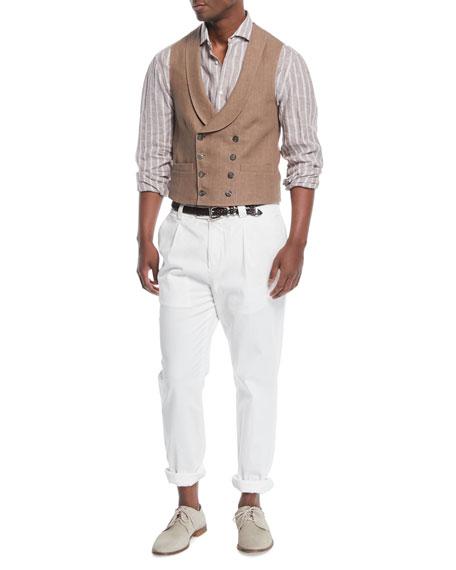 Men's Double-Breasted Linen Gilet-Style Vest