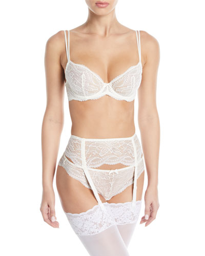 Eden Embroidered Lace Plunge Demi Bra and Matching Items