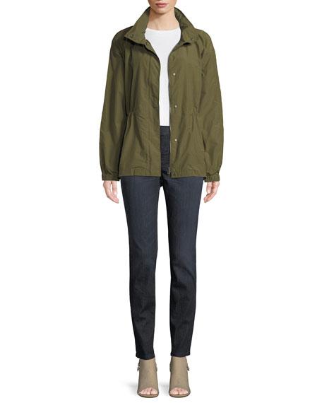 Organic Cotton-Nylon Utility Jacket with Hidden Hood