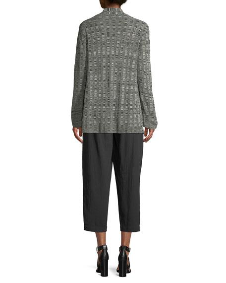 Fine Silk/Linen Bell-Sleeve Cardigan, Plus Size