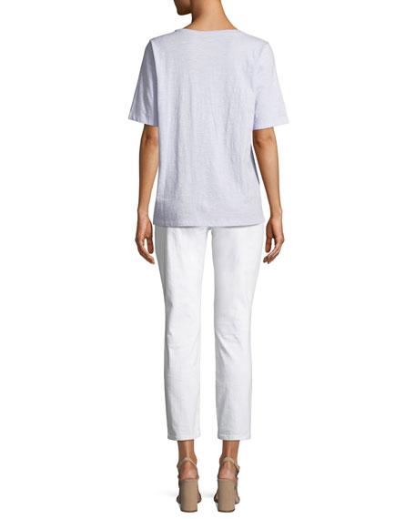 Short-Sleeve V-Neck Organic Cotton Slub Jersey Tee, Plus Size