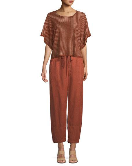 Short-Sleeve Vertical Striped Organic Sweater