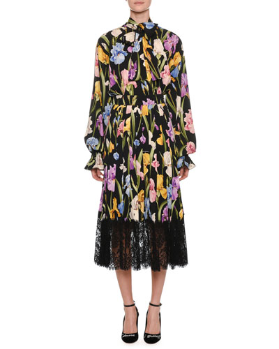 Long-Sleeve Tie-Neck Iris-Print Charmeuse Tea-Length Dress and Matching Items