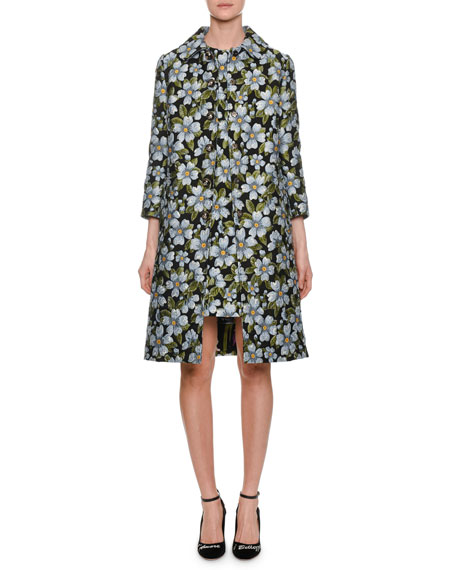 Single-Breasted Floral-Jacquard A-Line Coat