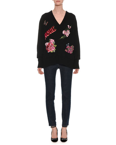 V-Neck Long-Sleeve Cashmere Sweater w/ Amore Patches and Matching Items