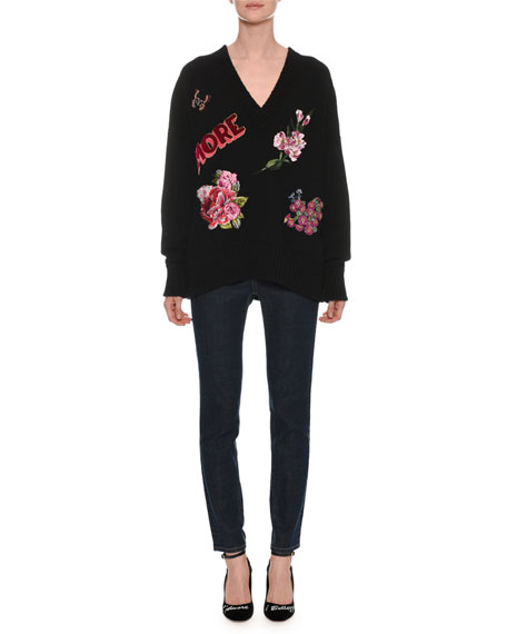 V-Neck Long-Sleeve Cashmere Sweater w/ Amore Patches