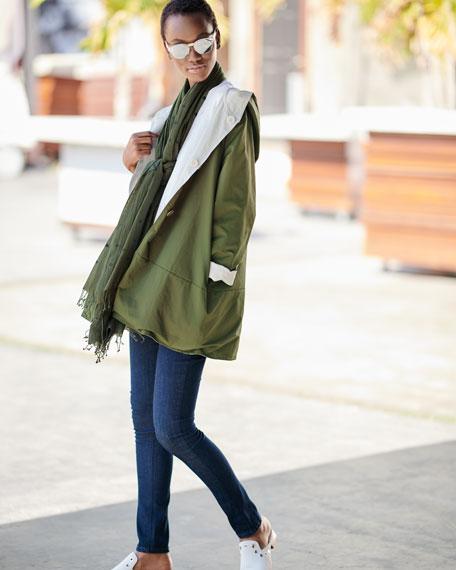 Half-Sleeve Slubby Organic Cotton Top, Plus Size