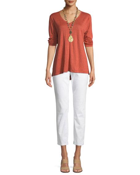 Organic Linen Jersey V-Neck Top
