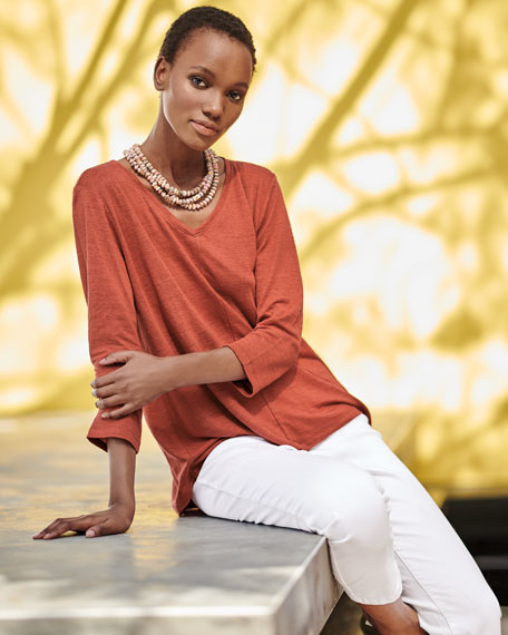 Organic Linen Jersey V-Neck Top, Petite