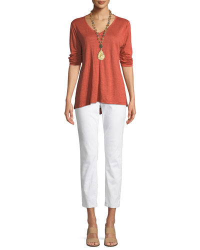 Organic Linen Jersey V-Neck Top, Petite and Matching Items