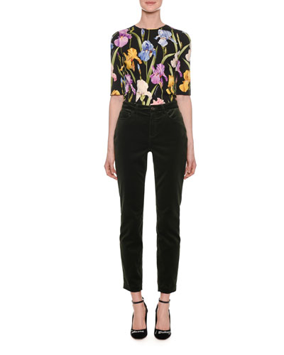 Elbow-Sleeve Iris-Print Fitted Charmeuse Top and Matching Items