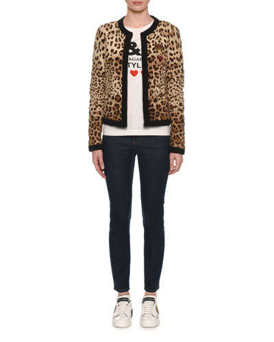 Zip-Front Leopard-Print Quilted Silk Jacket and Matching Items