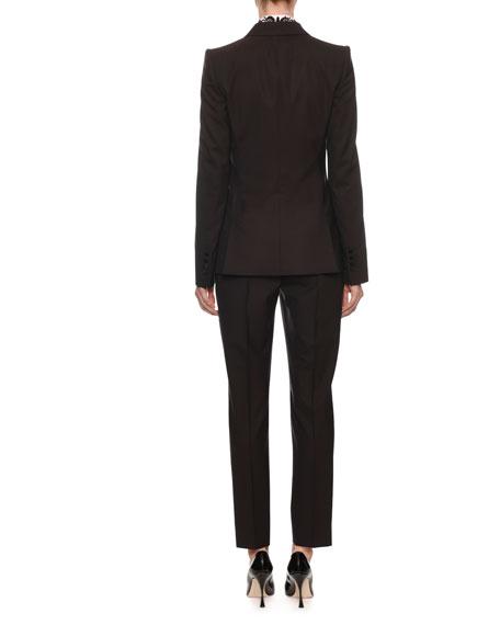 Peak-Lapel One-Button Light-Wool Jacket