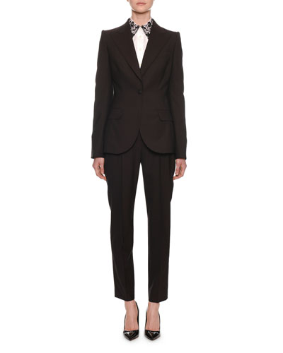 Peak-Lapel One-Button Light-Wool Jacket and Matching Items
