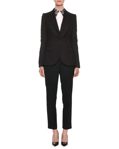One-Button Fitted Pinstripe Wool Jacket and Matching Items