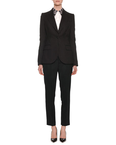 One-Button Fitted Pinstripe Wool Jacket