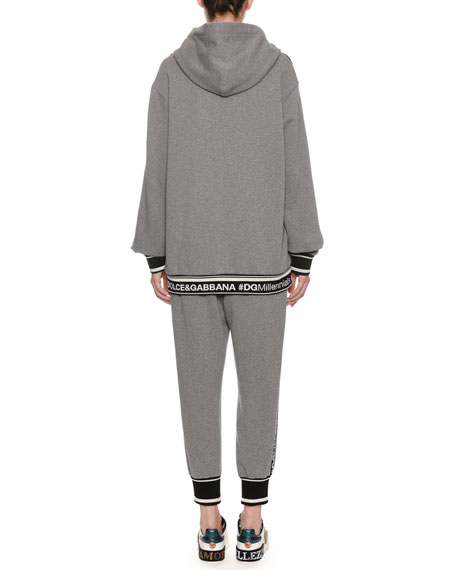 DG Millennial Logo Long-Sleeve Hooded Oversized Sweatshirt