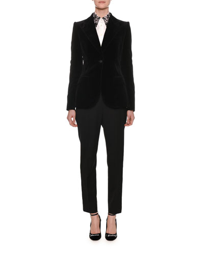 Peak-Lapel One-Button Velvet Jacket and Matching Items