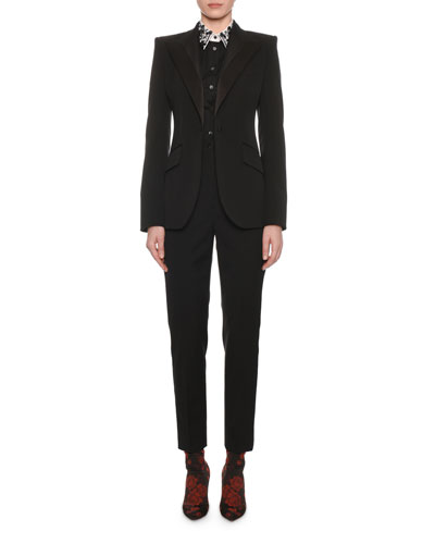 Satin-Lapel One-Button Tuxedo Jacket and Matching Items