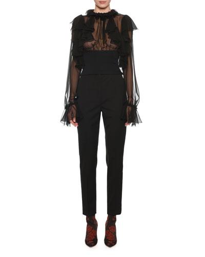 Long-Sleeve Wide Waistband Chiffon Blouse w/ Ruffle Detail and Matching Items