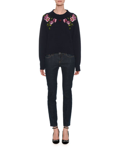 Crewneck Long-Sleeve Cashmere Sweater with Floral & Heart Applique  and Matching Items