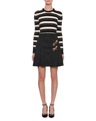 Long-Sleeve Crewneck Striped Ribbed Wool Sweater and Matching Items