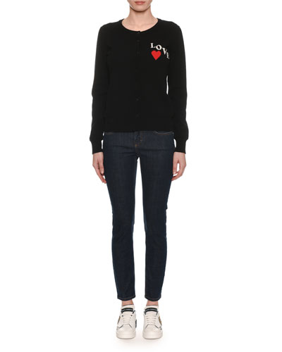 Crewneck Button-Front Long-Sleeve Cashmere Cardigan w/ Love Patch and Matching Items