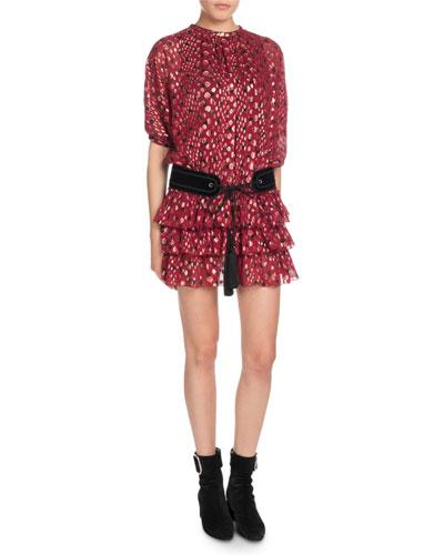 Multi-Dot Tiered Short-Sleeve Metallic Silk Mini Dress and Matching Items