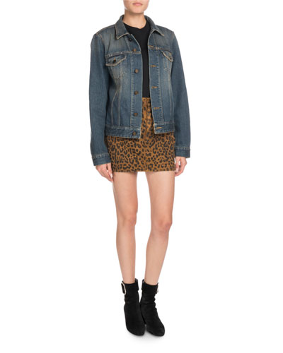 Button-Front Long-Sleeve Denim Jacket w/ University Emblem Print on Back and Matching Items