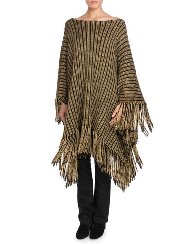 Metallic-Striped Oversized Poncho with Fringe Hem and Matching Items