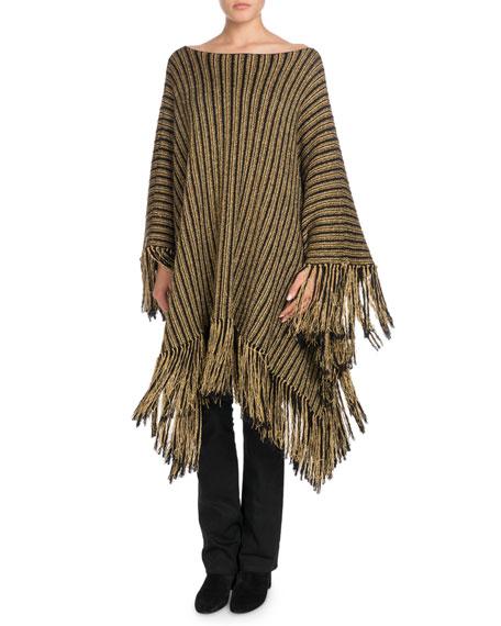Metallic-Striped Oversized Poncho with Fringe Hem