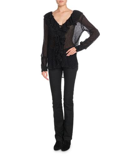 V-Neck Ruffled Long-Sleeve Velvet-Dot Georgette Blouse and Matching Items
