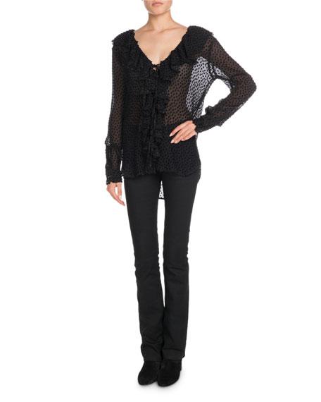 V-Neck Ruffled Long-Sleeve Velvet-Dot Georgette Blouse