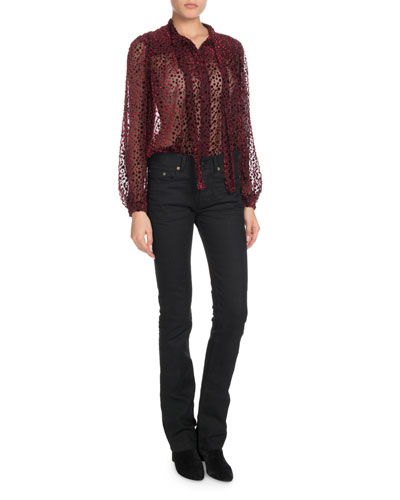 Tie-Neck Long-Sleeve Velvet Burnout Blouse and Matching Items
