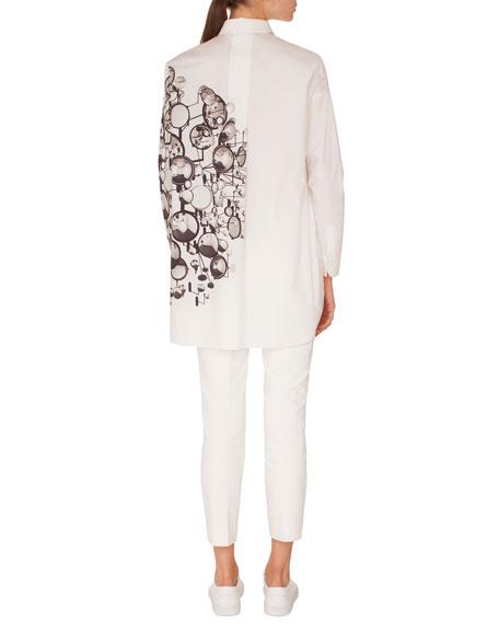 Long-Sleeve Button-Down Mirror-Print Cotton Tunic Blouse