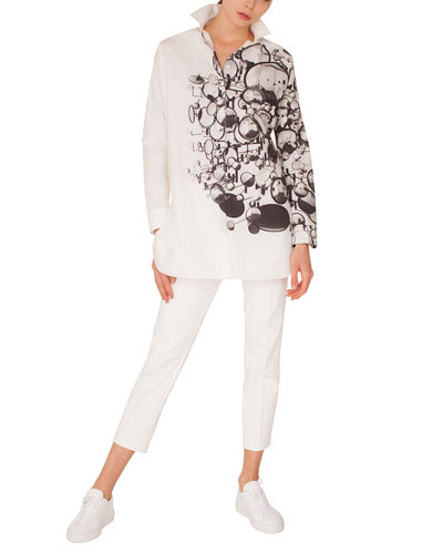 Long-Sleeve Button-Down Mirror-Print Cotton Tunic Blouse and Matching Items
