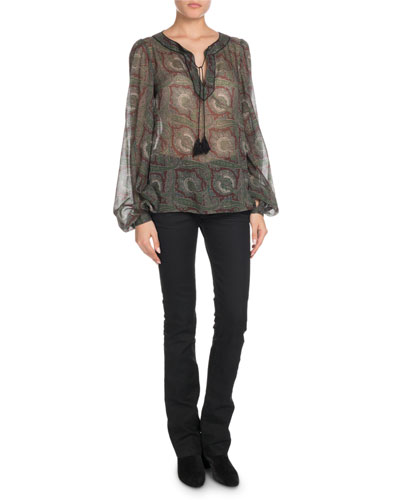 Tassel-Tie Neck Paisley-Print Sheer Wool Blouse and Matching Items
