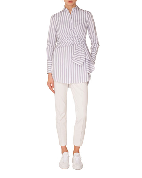 Long-Sleeve Button-Down Wrap-Waist Striped Tunic Blouse