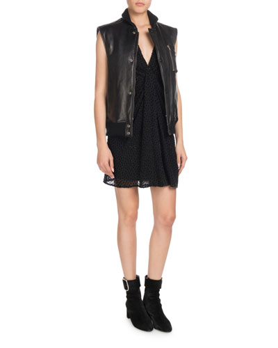 Snap-Front Lambskin Leather Vest and Matching Items