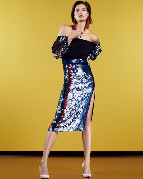 Greta Lace-Up Striped Knit Cardigan