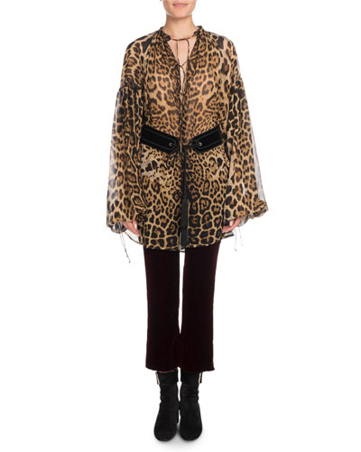 Lace-Up Long-Sleeve Leopard-Print Artist Smock Top and Matching Items