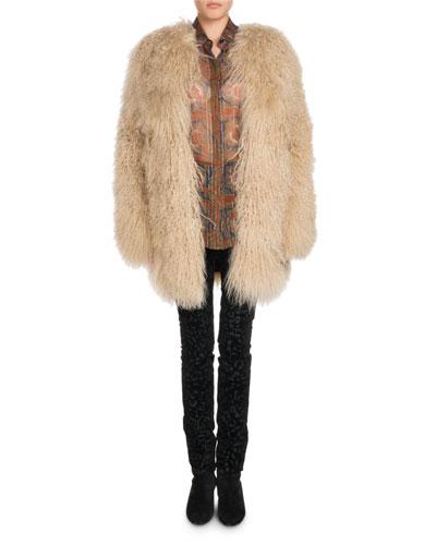 Long Hair Mongolian Lamb 3/4-Length Coat and Matching Items