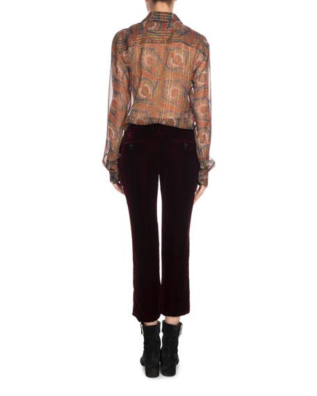 Long-Sleeve Button-Front Metallic-Paisley Silk Shirt