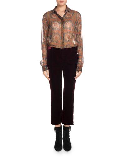 Long-Sleeve Button-Front Metallic-Paisley Silk Shirt and Matching Items
