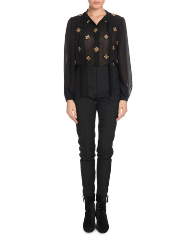 Tie-Neck Long-Sleeve Embroidered Silk Blouse and Matching Items